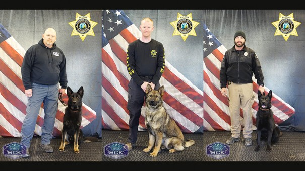 Shown from left are K-9 Tango, working with Lieutenant Kevin Holden; K-9 Baxy, working with Officer Jonathan Collier; and K-9 Ozzy, working with Officer Robert Pace.