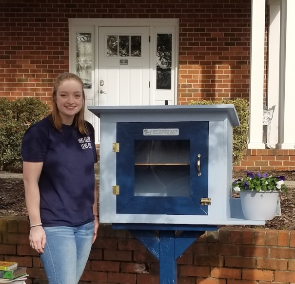 Kathryn Thomas, a Girl Scout and HHS student, installed a Little Free Library in the Rooted in Faith Garden.
