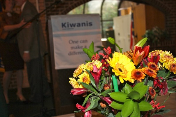 Flowers mark Chat Jones' seat at the Hendersonville Kiwanis Club.