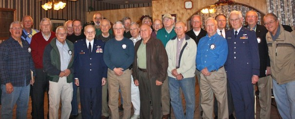 Kiwanians who served in the armed forces pose for a photo.