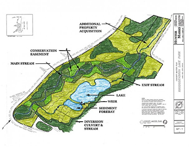 Conceptual rendering of the site with the sediment bay and re-opened stream path in and out of the lake.