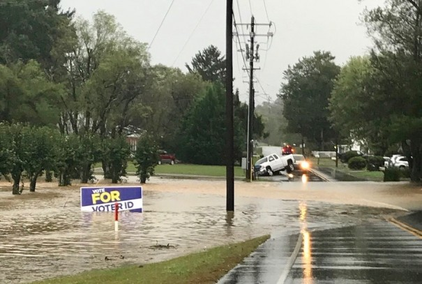 High water closed Dana Road at Tracy Grove Road Thursday morning.