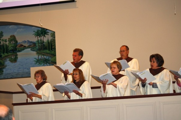 Mount Moriah choir sings during dedication service.