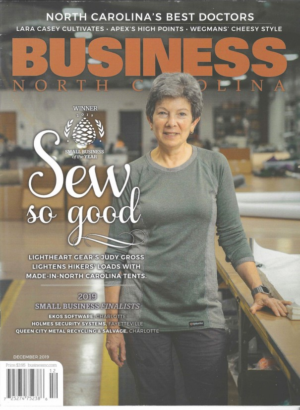 CEO Judy Gross is shown on the cover of Business North Carolina, which honored Fletcher-based LightHeart Gear as Small Business of the Year.