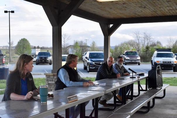 Meeting at a picnic shelter in the town park, the Mills River Town Council set a process for filling a board vacancy.