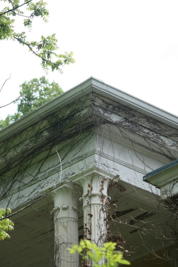Carved column capitals are part of the historic architecture of the 186-year-old Mountain Lodge in Flat Rock..