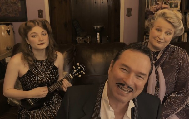 Noelle, Bill and Neela Munoz perform a song and comedy sketch in a Facebook video.