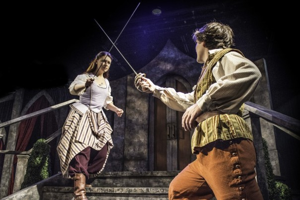 Catharine Kay as Sabine and Jeff Sundheim as D'Artagnan cross swords in 'The Three Musketeers' at Flat Rock Playhouse.