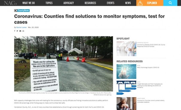 County News, the website of the National Association of Counties, higlighted Henderson County's collaborative response to the coronavirus crisis.