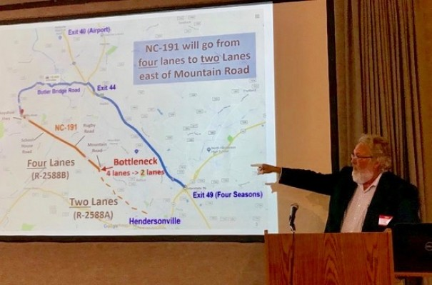 Homeowners organizing to stop the N.C. 191 widening heard on Saturday from Bill Erickson, who led the effort to stop the Balfour Parkway.