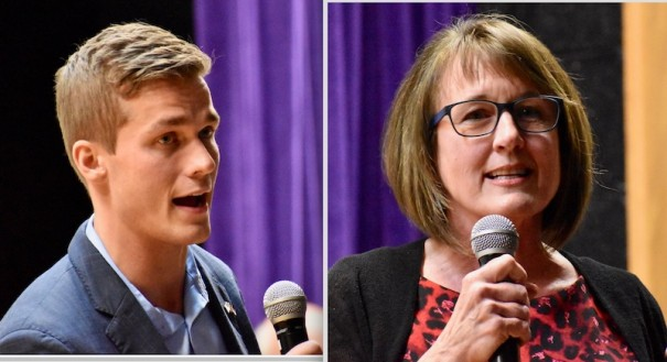 Madison Cawthorn and Lynda Bennett, who are in a runoff for the Republican nomination for the 11th Congressional District election, made their pitches at the Henderson County Republican Party convention Saturday.