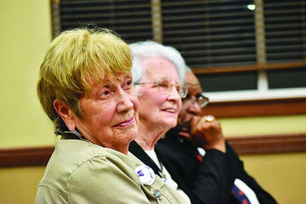 Nancy Glowacki and Lee Luebbe listen to another supporter of the ERA during a meeting Monday of the Fletcher Town Council.