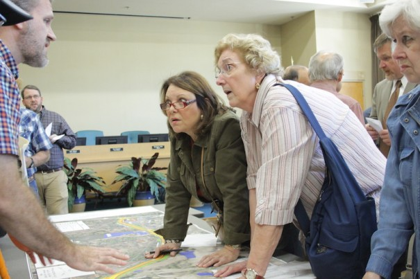 Residents listen to NCDOT District Engineer Steve Cannon explain Highland Lake Road improvements during a public input meeting on Oct. 17..