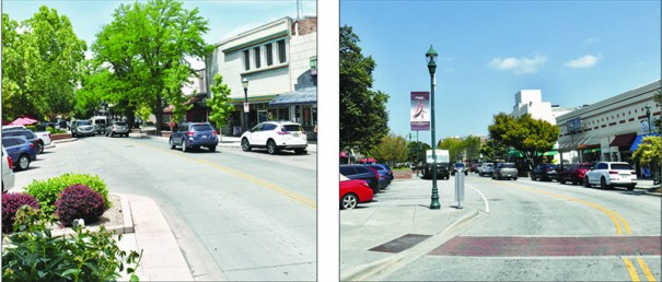 Which is which? In 1962 Grand Junction, Colorado, pioneered the serpentine streetscape that Hendersonville adopted 13 years later for its own downtown makeover. The plan narrowed the street from four lanes to two, added mid-block crosswalks, replaced para