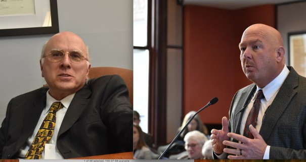 George Pappas (left) criticizes and Sheriff Lowell Griffin defends decision to renew a 287(g) agreement with ICE.