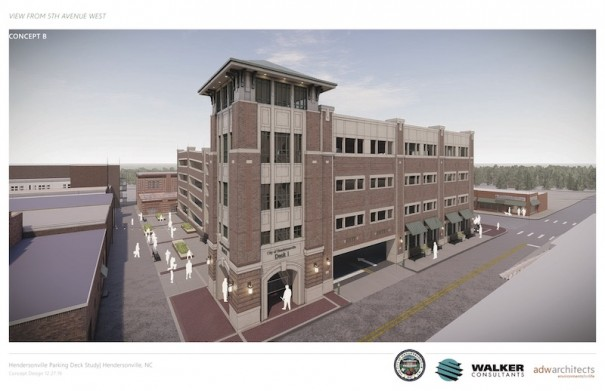 A rendering shows proposed parking deck looking south from Fifth Avenue West