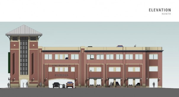Rendering shows the proposed $8.4 million parking deck looking south from Fifth Avenue West.
