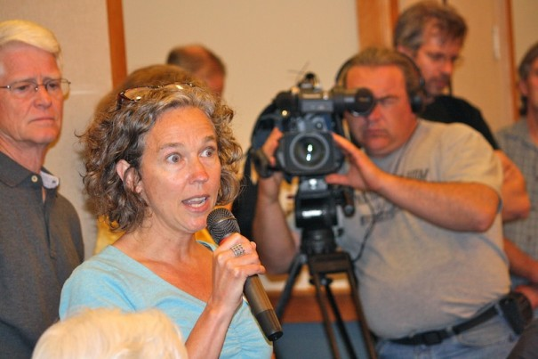 Danna Smith of Brevard speaks against proposed biomass plant in Penrose during a public meeting Thursday, April 11.