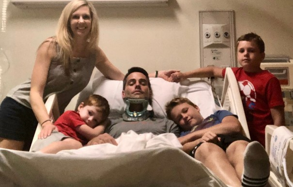 Josh Poore, with his wife, Ashley, and their boys at Shepherd Center, a facility in Atlanta that specializes in rehabilitation for patients with spinal cord and brain injuries.