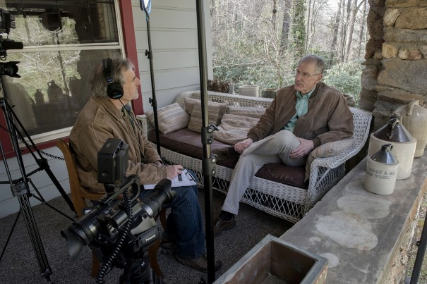Director David Weintraub interviews Jim Stokely, Wilma Dykeman's son and the director of the Wilma Dykeman Legacy Foundation, for 'Guardians of Our Troubled Waters,' a documentary about rivers of the Blue Ridge Mountains.