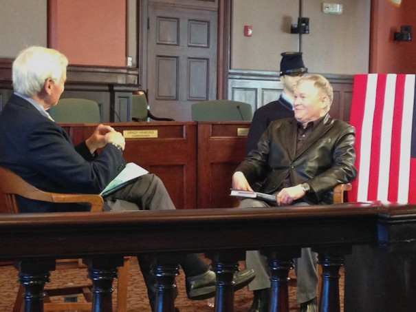 Bookwatch host D.G. Martin taped an interview with Robert Morgan at the Historic Courthouse on April 9. The interview airs at noon Sunday on WUNC-TV.