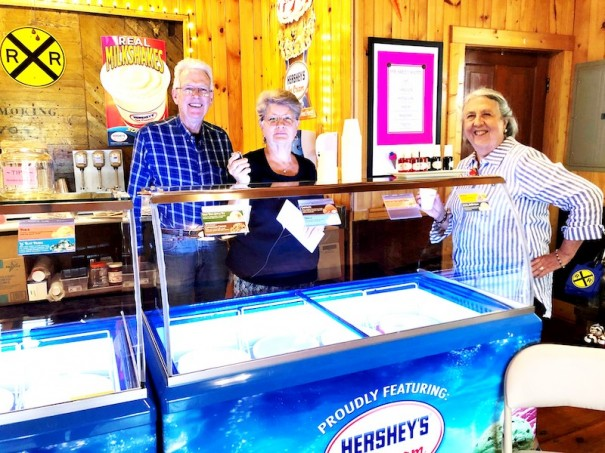 Bruce Hunt, Judy Ward and Carolyn Ashburn pose in the Saluda Sweet Shoppe.