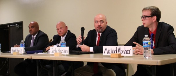 Republican School Board candidates Blair Craven, Burt Harris, Josh Houston and Michael Absher participated in a candidate forum on Aug. 18.