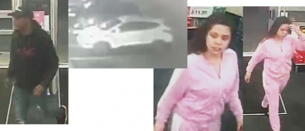 Detectives are seeking the identity of suspects in car break-ins in which credit cards were stolen.