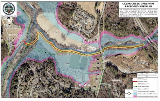 Drawing shows proposed Clear Creek Greenway linking the Oklawaha Greenway at Berkeley Park (left) to Carolina Village (right). [CITY OF HENDERSONVILLE ENGINEERING]