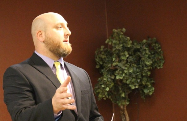 State House candidate Shelby Mood speaks at the Henderson County Libertarian Party Convention on Sunday, Aug. 10.
