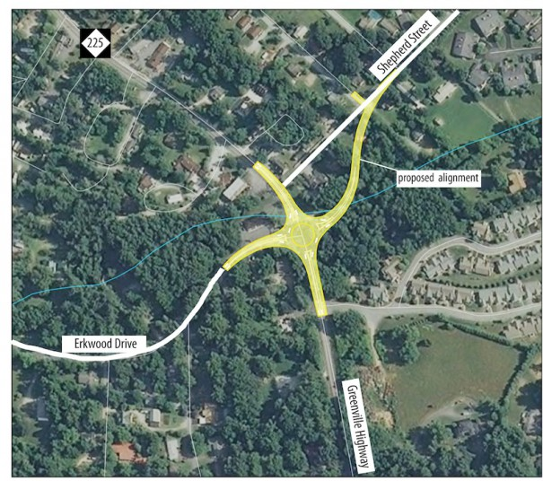 The NCDOT has proposed a roundabout on Greenville Highway at Erkwood. [NCDOT GRAPHIC MODIFIED BY KELLY FAIN/HENDERSONVILLE LIGHTNING]
