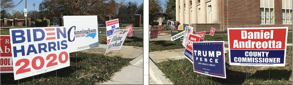 Campaign signs at Hendersonville High School polling place.