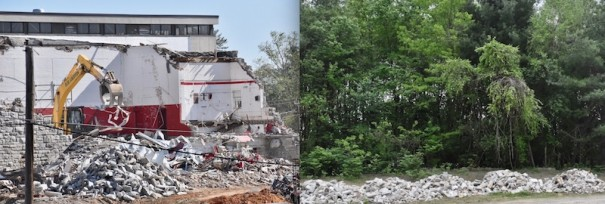 After the old gym at HHS was demolished, the granite was hauled off to a field at Jackson Park.