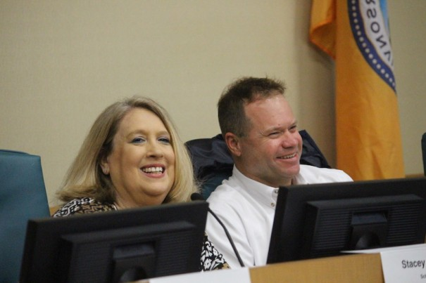 Stacey Caskey and Jay Egolf during a light moment at School Board forum.