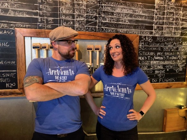Steve Gwaltney and Nicola Barksdale will tend bar at Southern Appalachian Brewery.