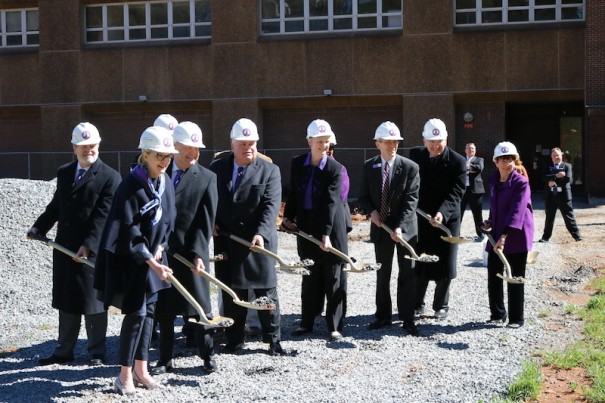 Former state Sen. Tom Apodaca, state officials and Western Carolina University break ground on Apodaca Science Building. [PHOTO BY JOHN PANNELL]