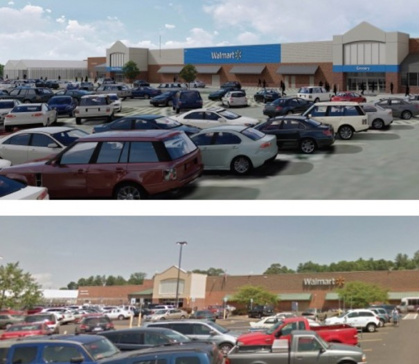 The city Planning Board endorsed Walmart's application to switch from earthtone to blue accents.