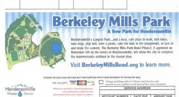 City water bills contained information on the Berkeley Mills Park bond referendum.
