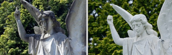 Images from last year and last week show the result of a good cleaning of Wolfe's Angel. Her finger and star will be reattached soon.