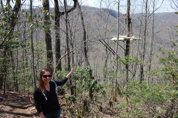 Sara Bell points out one of the zipline segments.