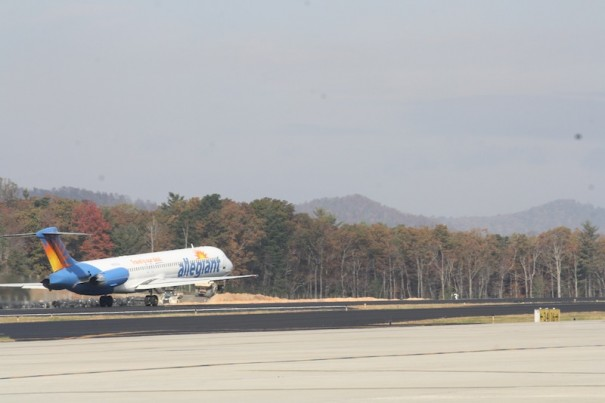 An Allegiant airline MD88 takes off on first flight from Asheville to Punta Gorda, Fla.
