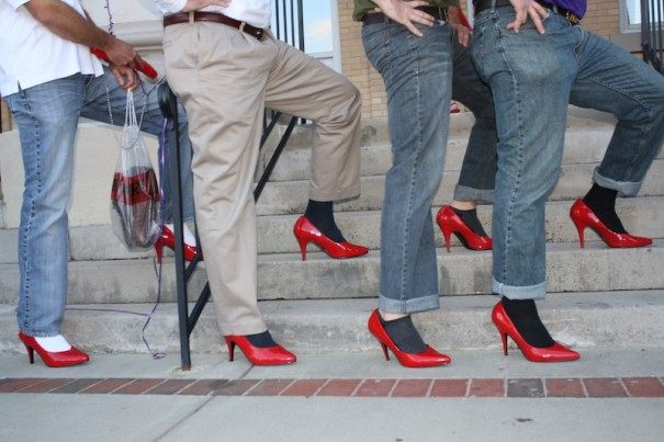 Men of Mountain 1st Bank model their heels.