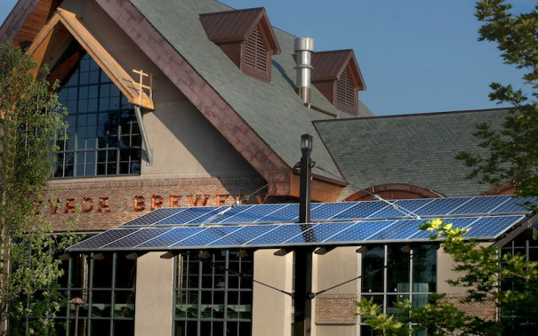 Mills River brewery has nearly 2,200 solar panels. Between the solar array and the microturbines the plant produces an average of 1 megawatt of AC power, enough to power dozens of average American homes.