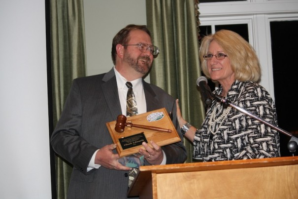 2014 chair Molly Parkhill thanks outgoing chair Chuck Edwards for his service.