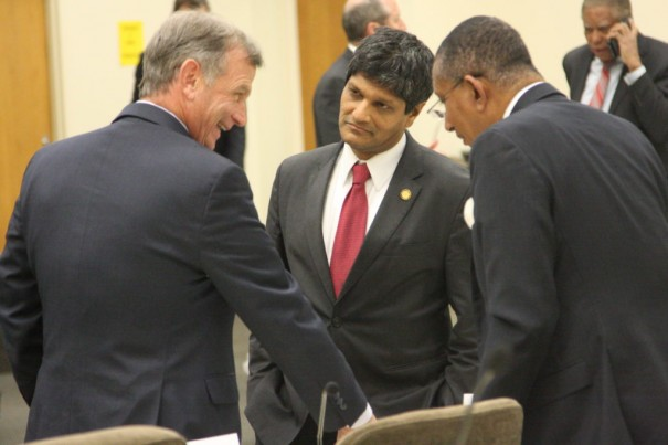 From left, Sens. Bill Rabon, R-Brunswick, Jay Chaudhuri, D-Wake, and Floyd McKissick, D-Durham, share a laugh during a meeting break Wednesday of the Senate Select Committee on Judicial Reform and Redistricting. [DAN WAY/Carolina Journal]