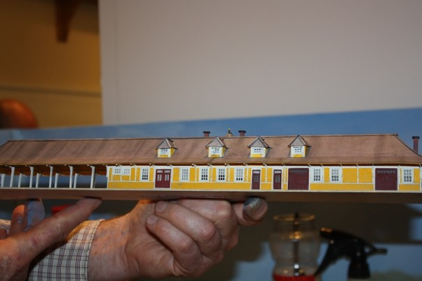 Modeler Bill Raymond spent about 100 hours making the Hendersonville railroad depot.