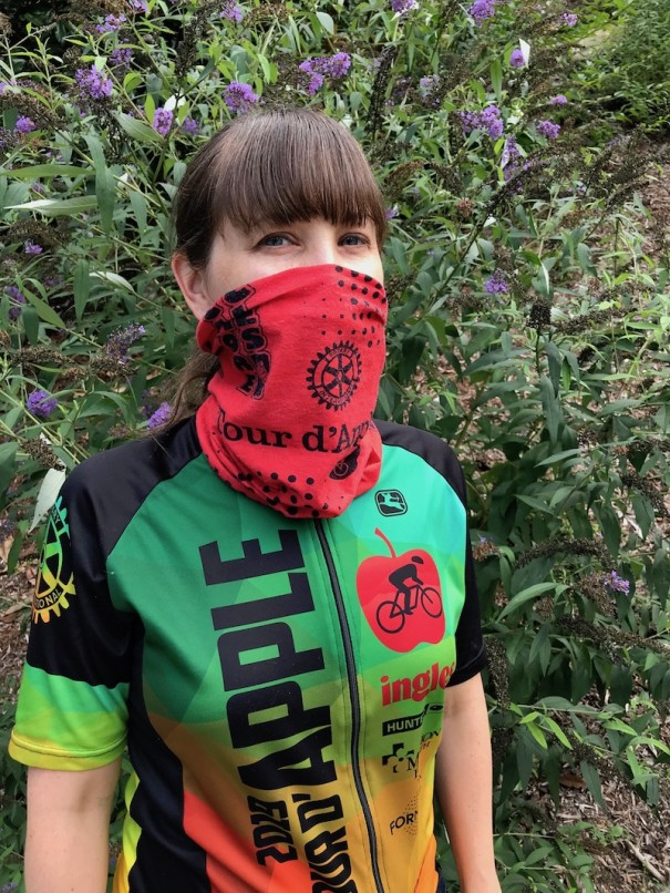 Cyclists registered for the Tour d'Apple will receive a complimentary Tour buff for use as a face covering in lieu of a face mask, required on Labor Day at Blue Ridge Community College and all Tour rest stops. The Tour buff doubles as a neck cooler with a