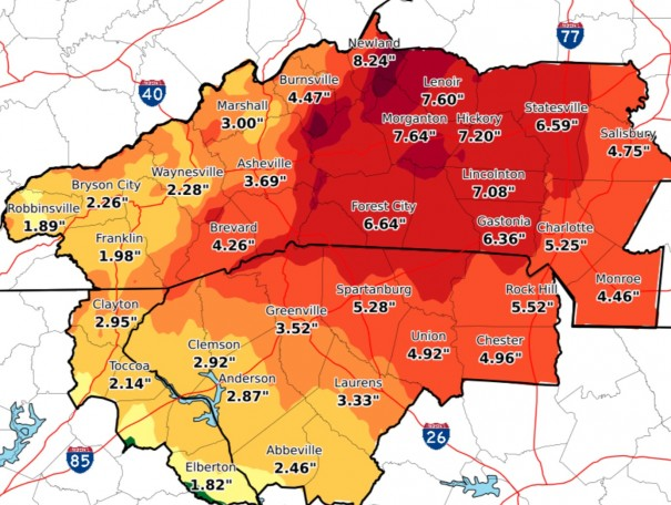 Map shows projected rainfall totals. [SOURCE: NATIONAL WEATHER SERVICE]