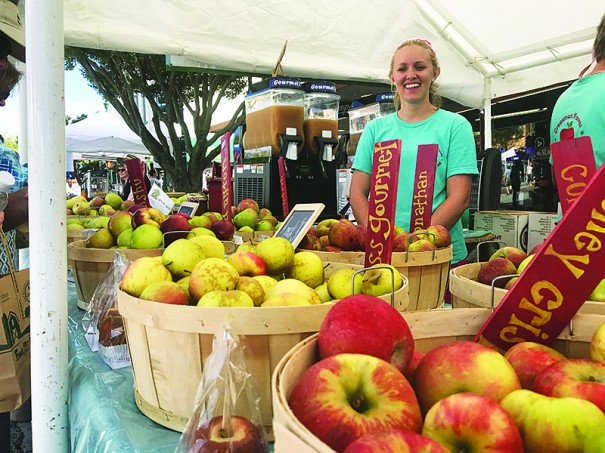Colby Buchanan sells apples at the Creasman Farms stand at the North Carolina Apple Festival.
