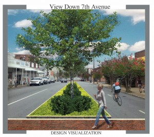 Image shows brick paver crosswalk and treed median in the 300 block of Seventh Avenue East. HUNTER MARKS, BROOKE JOHNSON/Watermark Landscaping